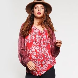 Free People Hendrix Floral Oversized Peasant Top